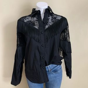 Vintage Fringe Lace Button Down Made in USA